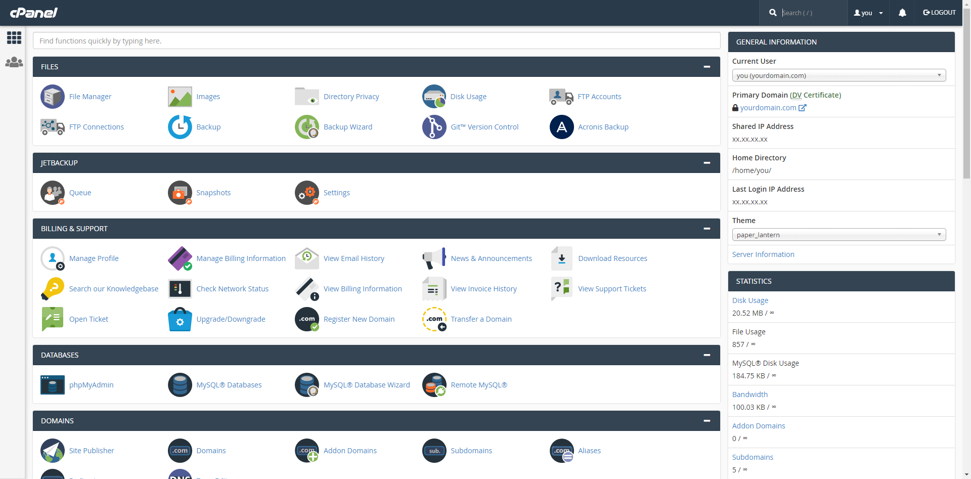 cPanel Preview Screenshot